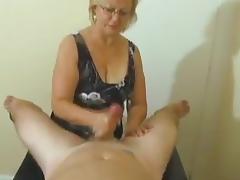 Amateur granny jerking cock