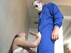 Brave babe fucks a guy in a hockey mask from a horror flick