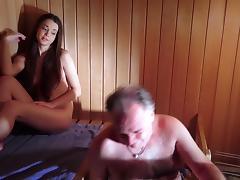 Amazing Beautiful Teen is Fucking an Old Man in The Sauna