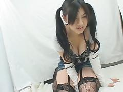 Shy Japanese schoolgirl masturbating on camera