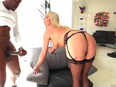 Sheer stockings on the hot blonde milf going anal