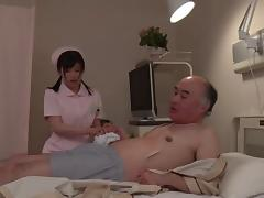 Old dick fucks the Japanese nurse in her perfect wet pussy