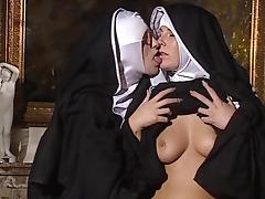 Nun, Blonde, Brunette, Hairy, Lesbian, Lick