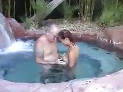 Asian pool blowjob older man