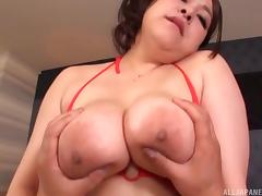 Japanese fat girl dressed in red lingerie for hardcore fucking