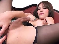 Pantyhose tranny tears them open to free her gorgeous dick