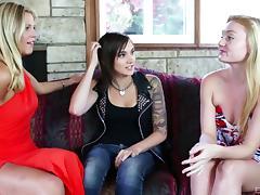 Lesbian Orgy, Group, Jeans, Lesbian, Orgy, Tattoo