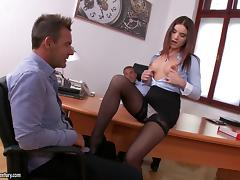 Secretary and her bosses have hot double penetration sex