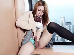 Camera guy jerks off the cute Japanese tranny