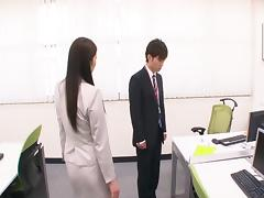 Office guy provides the sexy Hina with his erected tool