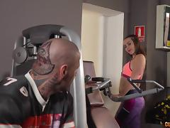 Crazily tattooed muscular man fucking sluts in the gym
