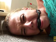 Gagged cutie fucked in her slutty mouth and tight pussy