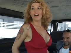 By the end of the ride she is well fucked and covered with cum