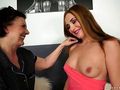 Fresh college redhead goes down on a mature slut