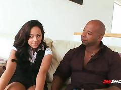 Sassy pornstar face fucking a big black cock then gets drilled missionary