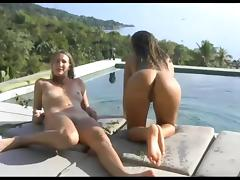 Threesome One nude in pool