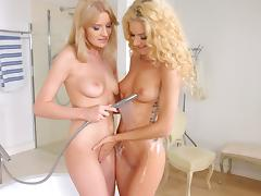 Cunts and asses eaten erotically by blonde lesbian babes