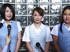 Kinky collared Japanese pornstars gobble cocks and get laid