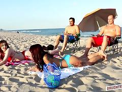 Big Ass, Beach, Big Ass, Blowjob, Brunette, Foursome