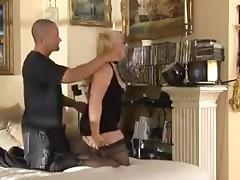 Blonde big boobs fucking in black stocking
