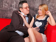 TrickyOldTeacher - Hot blonde student blows sexy older teacher and fucks him crazy