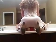 Hot Girl Rides Dildo In Front Of Mirror