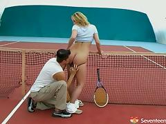 Lovely chick gets cum on her tits after being fucked on the tennis court