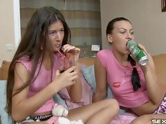 Duo of salacious lesbians get wild drilling their anals using a strap on