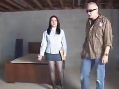 Saleswoman in basement