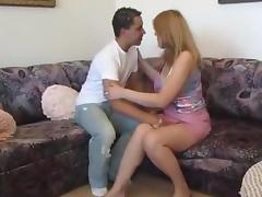 Older woman sucks and fucks younger man