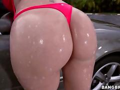 Big ass Sara Jay takes black cock after car wash