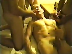 Bald guy in a hotel room to bottom for a gay anal orgy