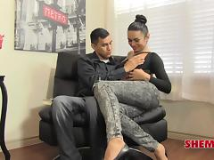 Ravishing shemale and her best male friend having fun on the sofa