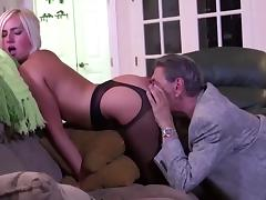 Escort, Blonde, Lingerie, Old Man, Escort