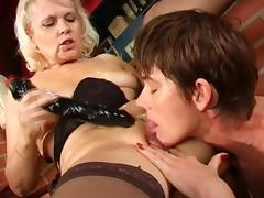 Lusty old ladies get naughty together with dildo fucking