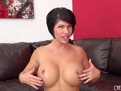 Milf slut with a pair of big fake tits and a hot cunt gets fucked