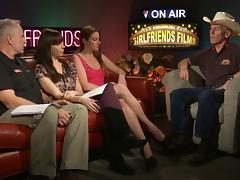 Cowboy man interview by sexy lesbians on a TV show