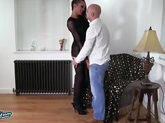 Arousing dark-haired shemale and her bald lover having some fun