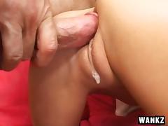 Stunning high-heeled blonde with huge tits enjoying a hardcore threesome