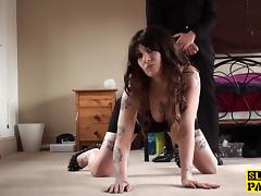 British bigtitted sub squirts before facial