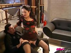His lady in stockings and heels likes cock in her pussy