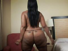 Chocolate chick with a huge ass is ready to ride the ebony cock