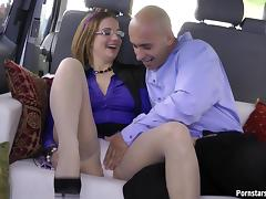 Vibrant bald head chap feasts on his girls hardcore at the trunk of his van