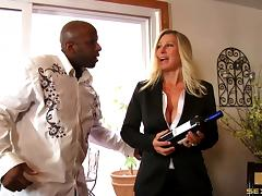 Magnetic blonde gladly takes the black cock up her sweet pussy