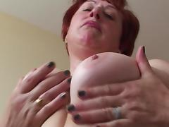 Fat mature chick masturbates her beaver and sucks the guy's schlong