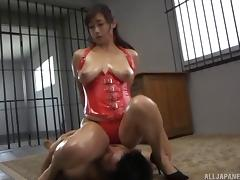 Oiled babe Miyabe is finally ready to take it from the behind