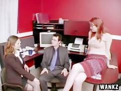 Office CFNM threesome with two coworkers sucking his cock