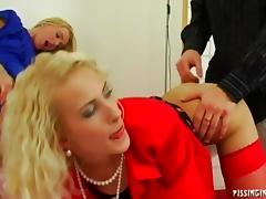 Kinky blonde babes sucks giant peckers ahead of some throbbing fuck