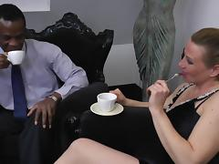 Thick black pecker is what this sexy blonde never tasted before
