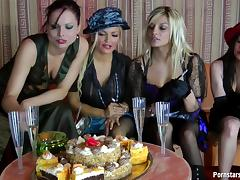Smoking bitches caress their flawless bodies with food in a messy lesbian treat